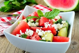 Watermelon Salad with Cucumber, Feta and Mint