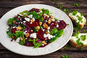 Beet Salad with Plums and Goat Cheese