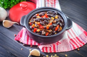 Black Bean and Sweet Potato Stew with Chilies and Polenta Triangles