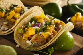 Grilled Fish Tacos with Mango, Cucumber and Mint Salsa