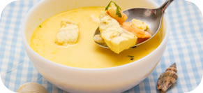 Cod Chowder with Saffron and Fingerling Potatoes