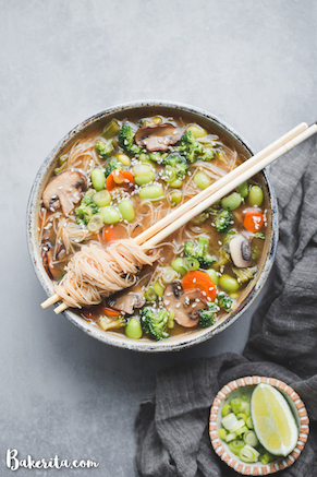 Gluten-free & vegan vegetable noodle miso soup