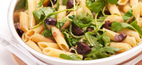 Penne with Greens, Olives and Feta
