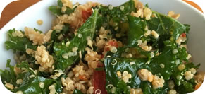 Kale and Quinoa Salad with Garlic Lemon Dressing