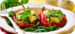 Roasted Bell Pepper Halves Stuffed with Bulgur and Spinach
