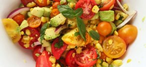 Warm Grilled Corn, Sweet Onion, Tomato and Bacon Salad