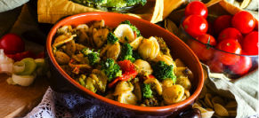 Orecchiette with broccoli and tomatoes
