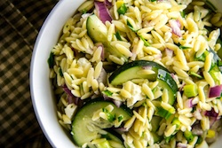 Summer Orzo Salad with Corn, Tomatoes and Cucumber- Feta Dressing