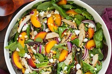 Peach Salad w/Grilled Basil Chicken & White Balsamic-Honey Vinaigrette