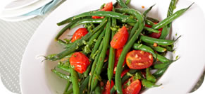 Green Bean Salad with Olives, Cherry Tomatoes and Summer Savory