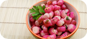 Roasted Radish with Brown Butter, Lemon and Radish Tops