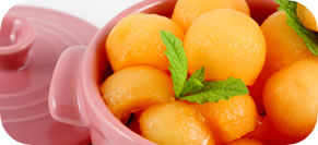 Cantaloupe Salad with Lime, Mint and Ginger