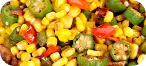 Succotash or Fresh Corn, Zucchini, Tomatoes, and Onions