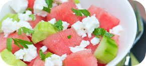 Watermelon and Cucumber Mint Tsatsiki Salad