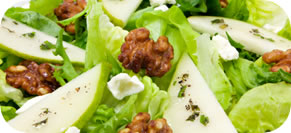Pear Salad with Feta, Bacon, Hazelnuts and Shallot Dressing