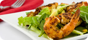 Grilled Shrimp Satay with Peaches and Bok Choy