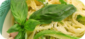 Linguine with Walnuts, Zucchini Ribbons and Pecorino Romano